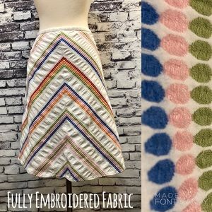 Talbots Colorful Embroidered Chevron Dot Skirt